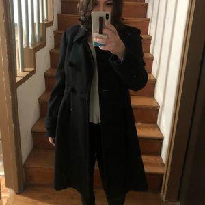 J. Crew Black Wool Pique Gramercy Winter Coat